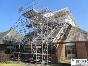 Echafaudage pour rénovation de toiture